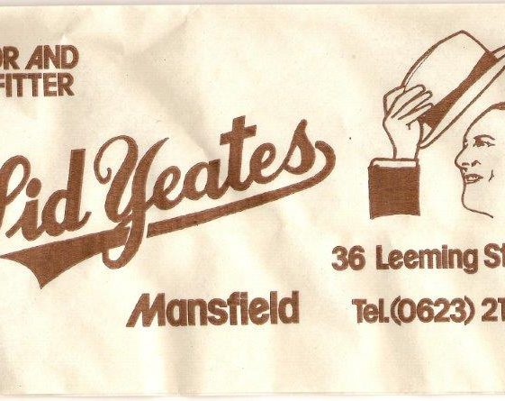 Mid-20th century advertisement for tailor and outfitter Sid Yeates, showing a man raising his hat, at 36 Leeming street