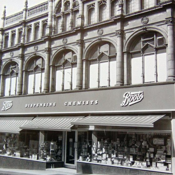 Old black and white photo of Boots at 11 Leeming Street in 1969   Courtesy of D. Hill