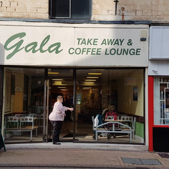 Number 12 Stockwell Gate, Gala Take Away and Coffee Lounge shop front