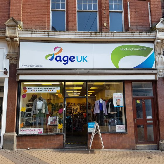Age UK, charity shop, at 28a Leeming Street in 2017