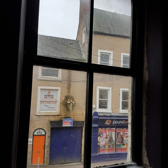 View out through sash window on first floor at 3 Stockwell Gate