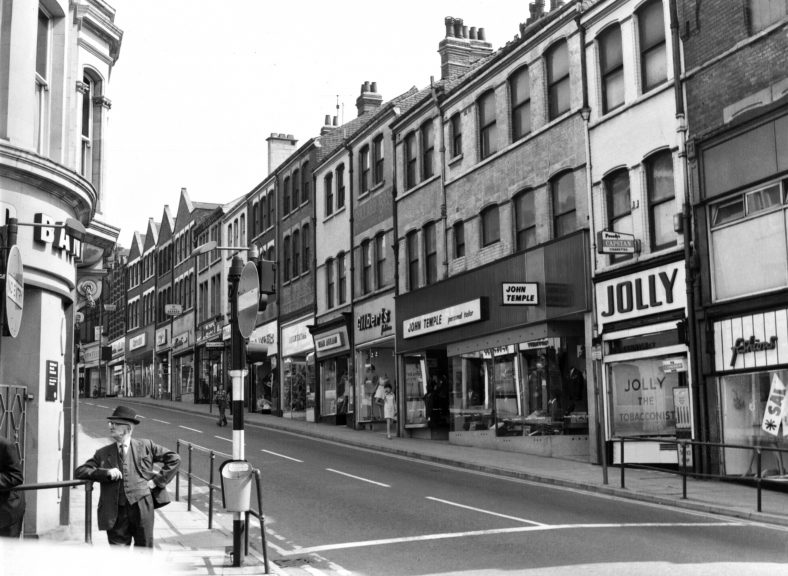 Old black and white photo of Leeming Street in the 1960s | J W Purdy