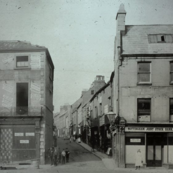 Old black and white photo of Leeming Street from the Market Place pre 1905 | Courtesy of D. Hill