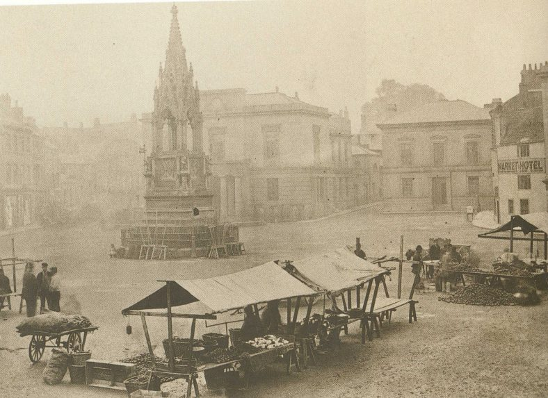 Old sepia photo of Mansfield Market Place in the 1800s