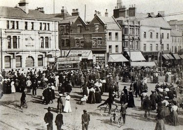 Old black and white photo of Mansfield Market Place in the 1900s | Courtesy of D. Hill