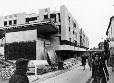 Old black and white photo of Tesco being built on Stockwell Gate in 1975 | Inspire: Culture, Learning and Libraries