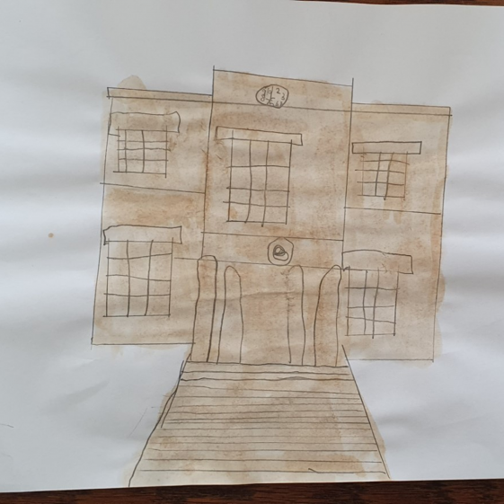 Painting of Mansfield Town Hall by Oscar Jack age 7 using tea!