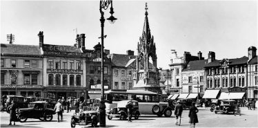 Old black and white photo of Mansfield Market Place in the 1930s | Courtesy of D. Hill