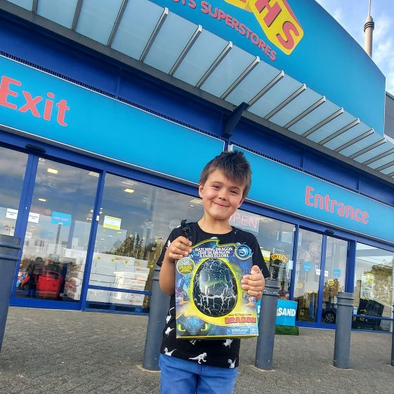 Archie Soanes Brown, third prize winner at Smyths Toys with his Dragon's Egg