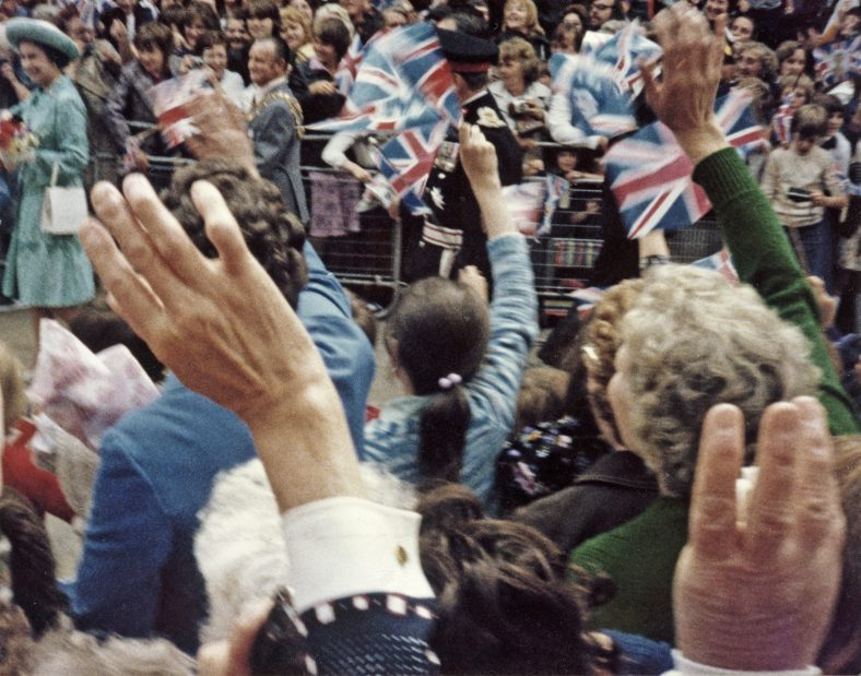 Crowds turn out in Mansfield to greet the Queen on her 1977 visit.   Mr G Churm