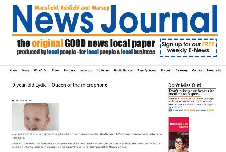 News Journal headline of Lydia Kirk's interview with her grandad