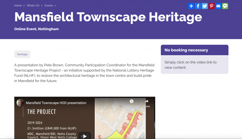 Screenshot of the Townscape Heritage project on the The Great Nottinghamshire Local History Fair online