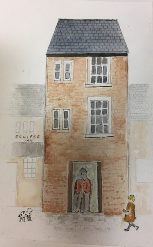 2 Market Place in the past as imagined in watercolour by Roy Wigglesworth   Roy Wigglesworth (original watercolour)